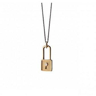 monica rich kosann 18k yellow gold square lock charm necklace
