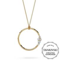"Diama_18K_Yellow_Gold_Glacial_Swarovski_Created_Diamond_Circle_Pendant,_32"""