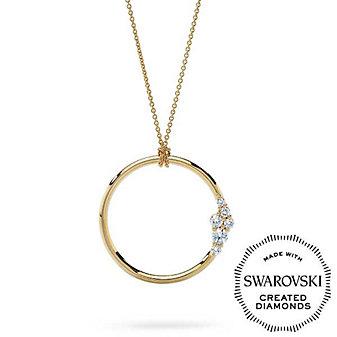 "Diama 18K Yellow Gold Glacial Swarovski Created Diamond Circle Pendant, 32"""
