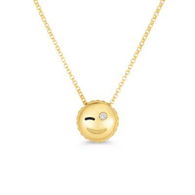 "roberto coin 18k yellow gold diamond wink emoji pendant, 18"""