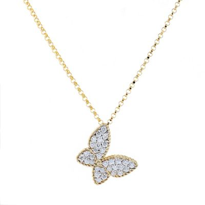 """roberto coin 18k yellow gold diamond pave butterfly pendant, 18"""""""