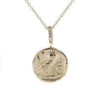 "robin_haley_owl_artifact_carved_disc_diamond_pendant,_18"""
