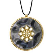 18K_Yellow_Gold_&_Sterling_Silver_Flower_Cut_Out_Disc_Pendant