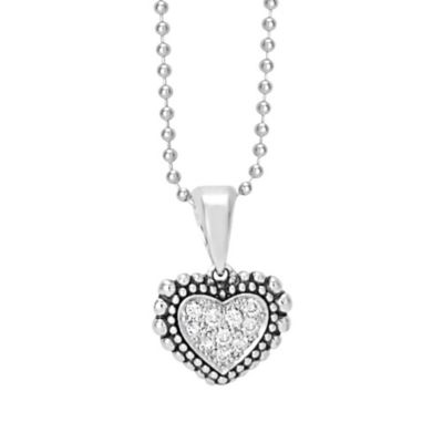 Lagos Sterling Silver Diamond Heart Pendant