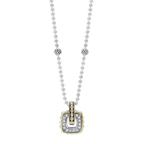 Lagos_Sterling_Silver_&_18K_Yellow_Gold_Cushion_Diamond_Caviar_Pendant
