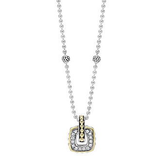 Lagos Sterling Silver & 18K Yellow Gold Cushion Diamond Caviar Pendant