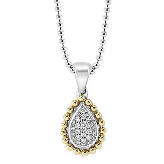 Lagos Sterling Silver & 18K Yellow Gold Diamonds & Caviar Necklace