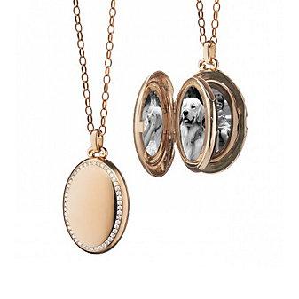 """Monica Rich Kosann 18K Rose Gold Four Premier Diamond Locket, 32"""""""