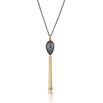Lika_Behar_24K_Yellow_Gold_and_Oxidized_Sterling_Silver_Diamond_Nugget_Tassel_Drop_Pendant,_28""
