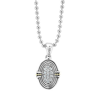 lagos sterling silver & 18k yellow gold diamond oval beloved locket, 16-18""