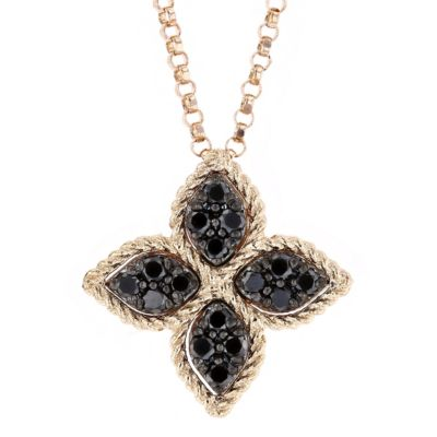 roberto coin 18k rose gold black diamond medium princess flower pendant, 18""