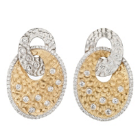 18K_Yellow_and_White_Gold_Round_Diamond_Hammered_Oval_Earrings
