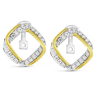 14K Yellow & White Gold Square Diamond Earring Jackets, Convertible