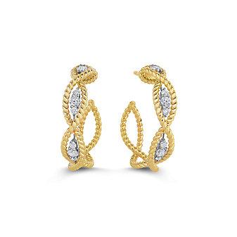 Roberto Coin 18K Yellow & White Gold Diamond Barocco Hoop Earrings