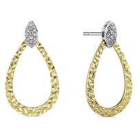 14K_Yellow_&_White_Gold_Hammered_Diamond_Earrings