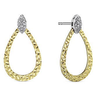 14K Yellow & White Gold Hammered Diamond Earrings