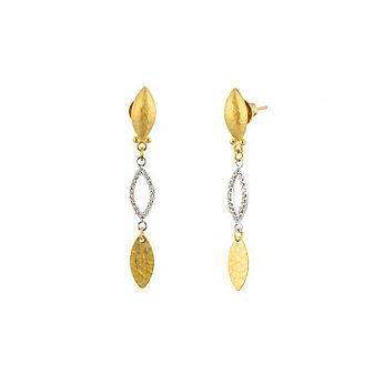 Gurhan 24K Yellow and White Gold Triple Drop Willow Mini Post Earrings