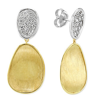 Marco Bicego Lunaria 18K Yellow & White Gold Diamond Drop Earrings