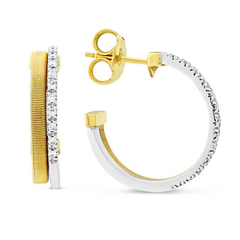Marco Bicego 18K Yellow and White Gold 2 Row Pave Diamond Masai Hoop Earrings