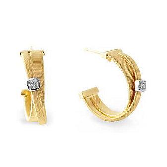 marco bicego masai 18k yellow gold diamond cluster hoop earrings