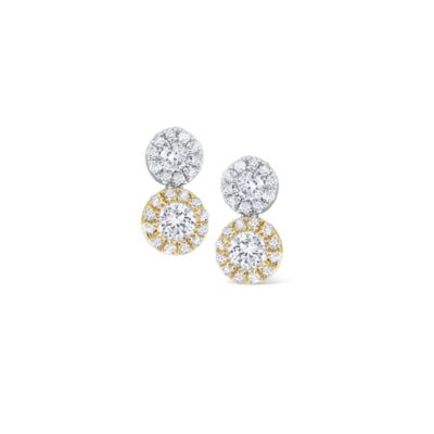 14k yellow & white gold diamond double circle post earrings