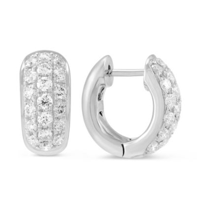 18K White Gold Pave Diamond Huggy Earrings, 0.97cttw