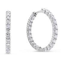 """Roberto_Coin_18K_White_Gold_Diamond_Hoop_Earrings,_1.1"""""""