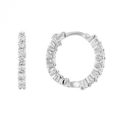 Roberto Coin 18K White Gold Extra Small Diamond Hoop Earrings, 2/3""