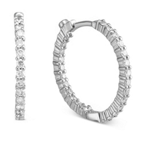 Roberto_Coin_18K_White_Gold_Diamond_Hoop_Earrings,_7/8""