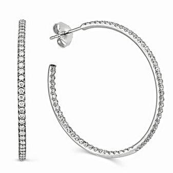 Roberto Coin 18K White Gold Extra Large Diamond Hoop Earrings, 1.25""