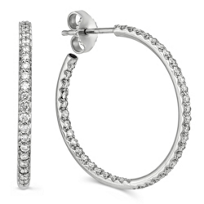 Roberto_Coin_18K_White_Gold_Diamond_Hoop_Earrings,_1""