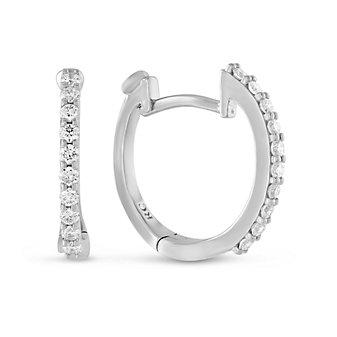 Roberto Coin18K White Gold Round Diamond Baby Hoop Earrings