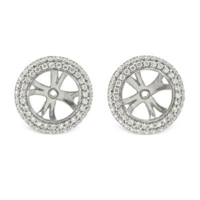 18K White Gold Round Diamond Earring Jackets