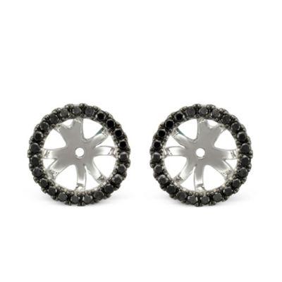 18K White Gold Black Diamond Earring Jackets
