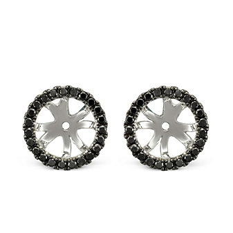 18K White Gold Black Diamond Earring Jackets