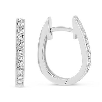 14K White Gold Round Diamond Oval Hoop Earrings