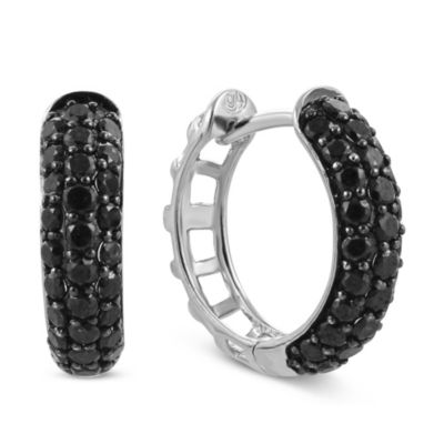 14K White Gold Black Diamond Hoop Earrings