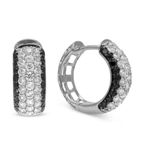 14K_White_Gold_Black_and_White_Diamond_Huggy_Earrings,_1/2""