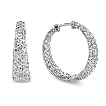Roberto Coin 18K White Gold Scalare Diamond Earrings, 1.93cttw