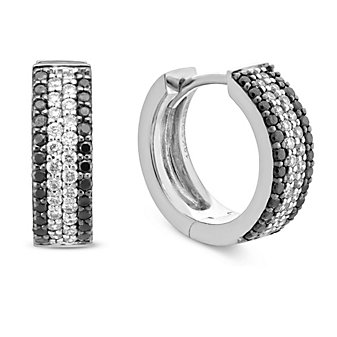 18K White Gold Black and White Diamond Hoop Earrings