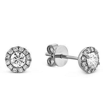 14K White Gold Round Diamond Halo Earrings, 0.48cttw