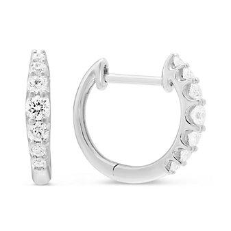 14K White Gold Graduated Diamond Hoop Earrings, 0.38cttw