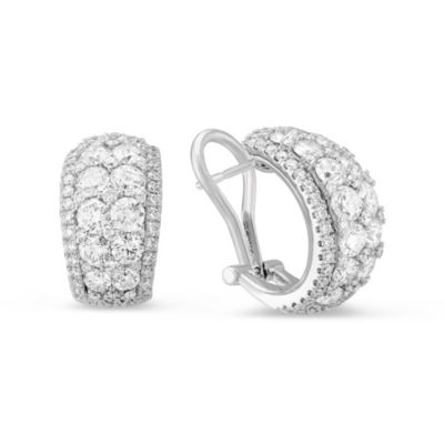 14K White Gold Round Diamond Wide Hoop Earrings