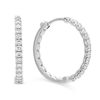 """Roberto Coin 18K White Gold Diamond Inside Out Hoop Earrings, 3/4"""""""