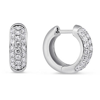 14K White Gold Pave Diamond Huggy Earrings