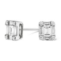 18K_White_Gold_Round_&_Baguette_Diamond_Stud_Earring