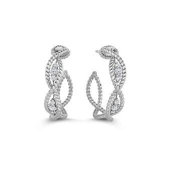 Roberto Coin 18K White Gold Diamond Barocco Hoop Earrings