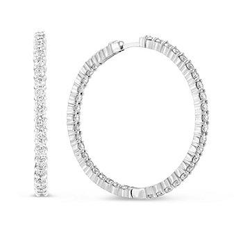 Roberto Coin 18K White Gold Diamond Inside/Out Hoop Earrings, 38mm