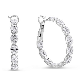 18K White Gold Marquise & Princess Cut Diamond Hoop Earrings