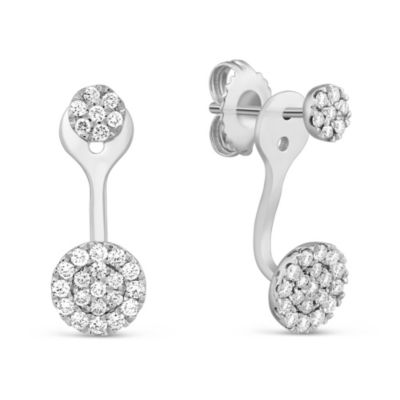 14K White Gold Diamond Disc Earrings With Removable Jacket